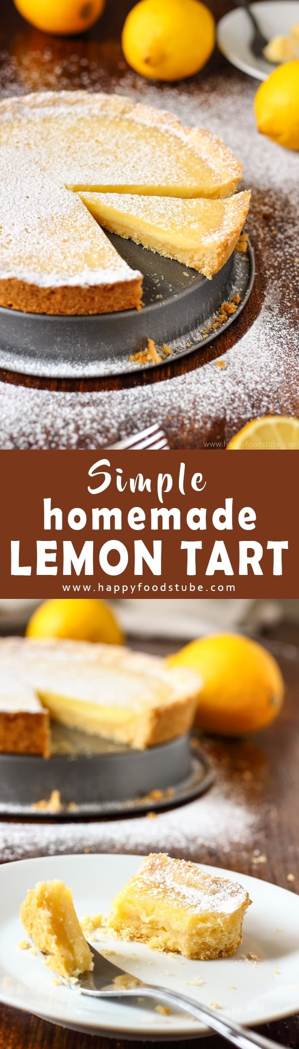 Simple Homemade Lemon Tart is a great citrus dessert made from scratch and using basic ingredients. It's a perfect baking project for kids as well. Easy to make desserts. #lemontart #easyrecipes #madefromscratch #baking #tart #recipe #dessert #citrus #homemade