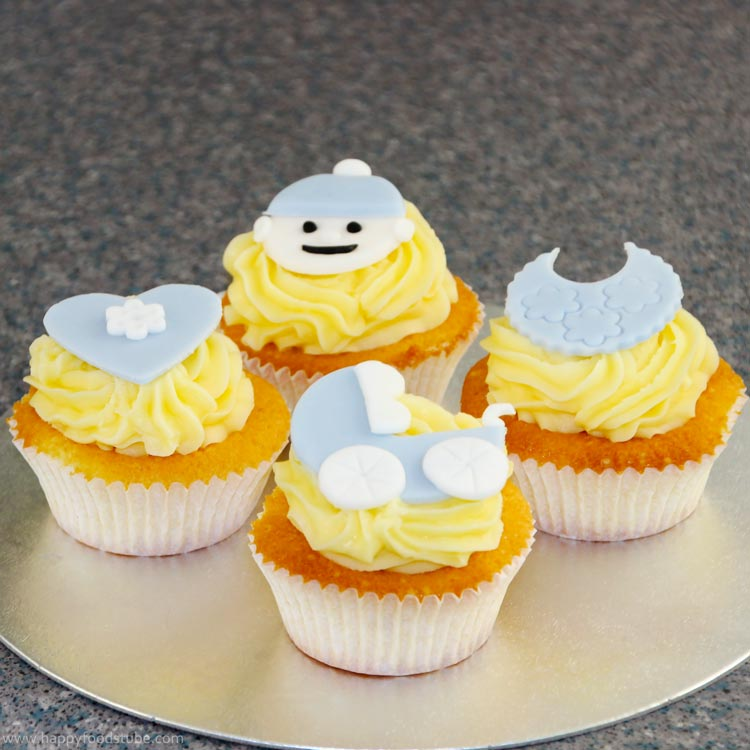How to make Cute Baby Cupcake Toppers - Baby Shower | happyfoodstube.com