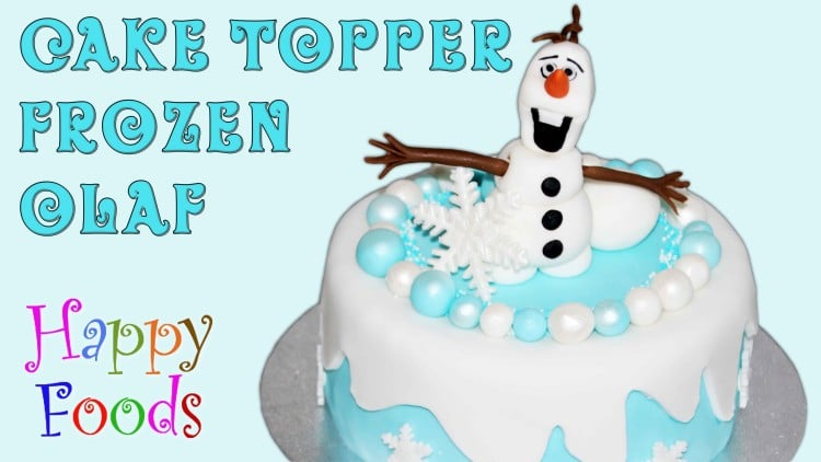 Frozen Snowman Olaf Fondant Icing Cake Topper | happyfoodstube.com