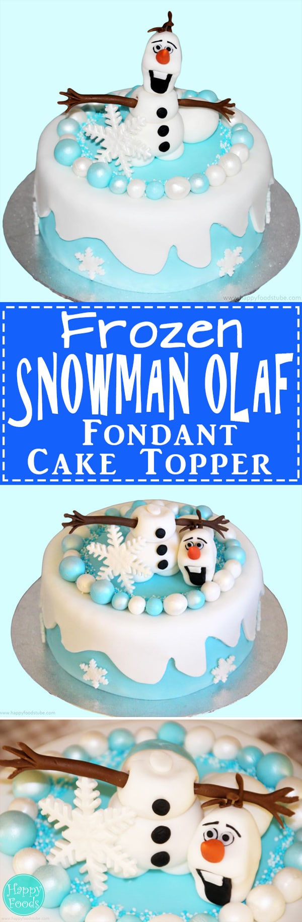 Frozen Snowman Olaf Fondant Icing Cake Topper - Cake decorating tutorial video. Learn how to make a Olaf from Disney cartoon! | happyfoodstube.com