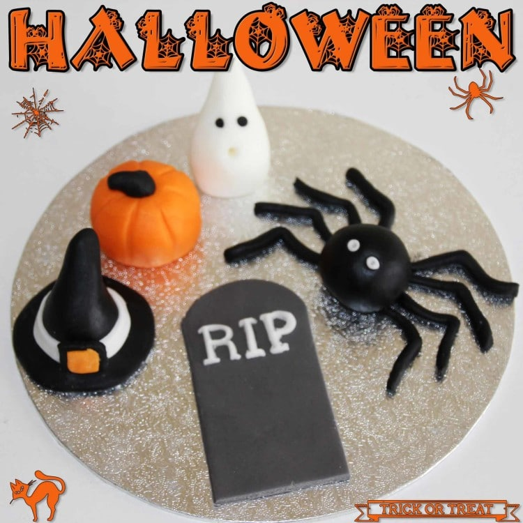 Fondant Cake Halloween Ideas : How to make Halloween Fondant Cupcake Toppers - Happy ...