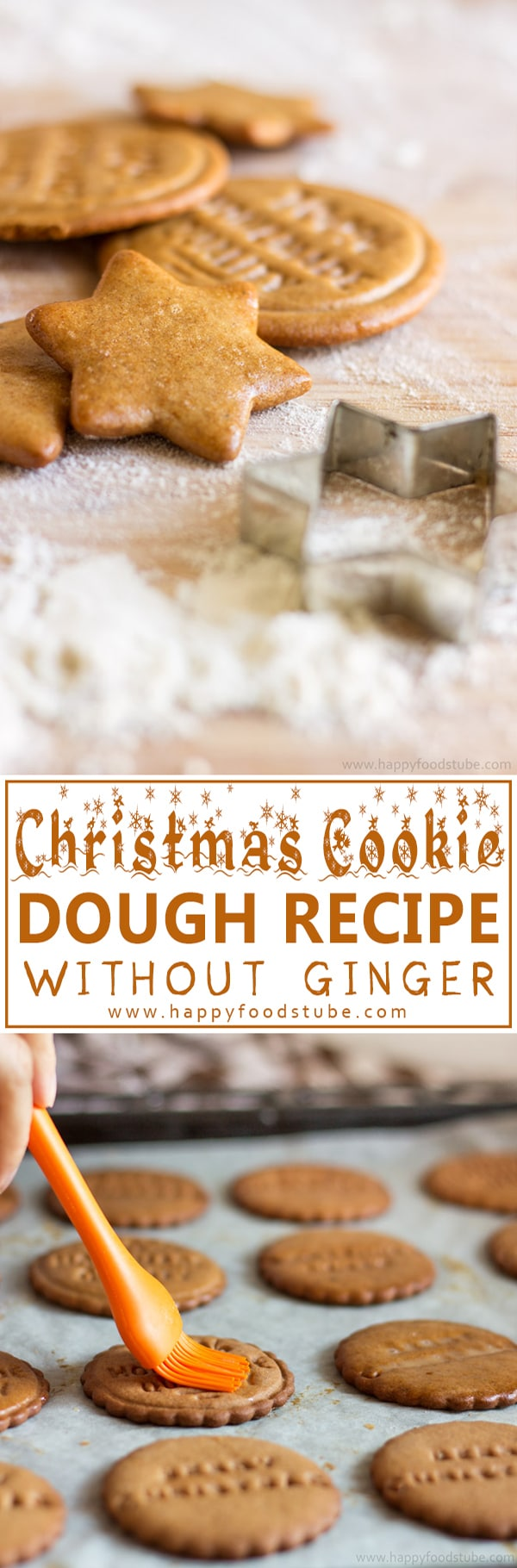 Best Christmas Cookie Dough Recipe without Ginger. Homemade gingerbread cookies with honey, cinnamon and cloves! Ready in 10 minutes! | happyfoodstube.com