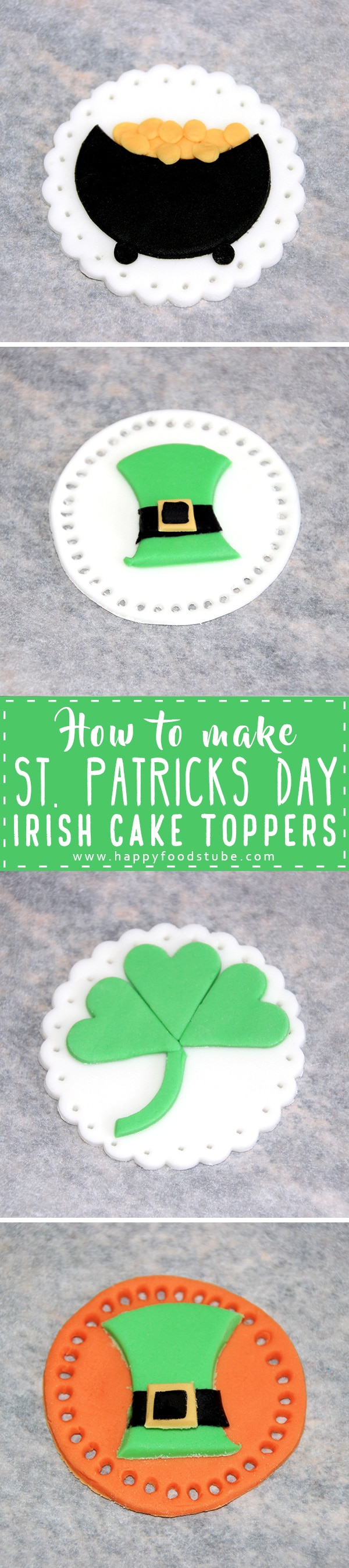 How to make St Patrick's Day Irish Cake Toppers. Fondant tutorial. Learn how to make Irish themed easy cake decorations - Pot of Gold, Leprechaun Hat and Irish Shamrock