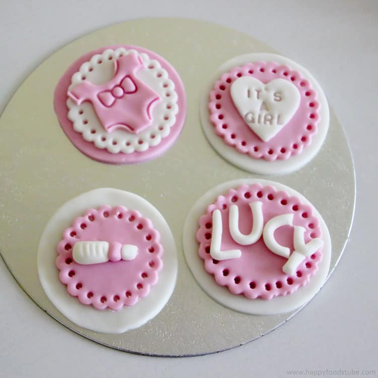Pink Baby Showers Fondant Cupcake Toppers