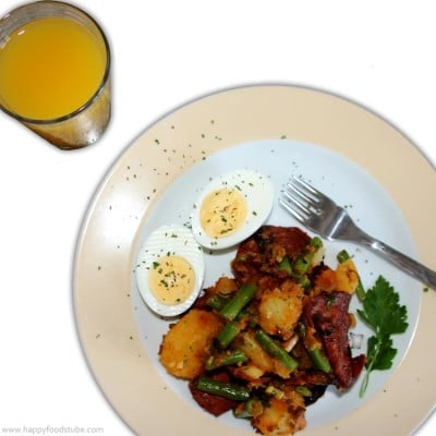 Easy Spanish Chorizo, Potato, Egg, Bean Salad