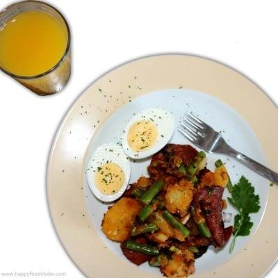 Easy Spanish Chorizo, Potato, Egg, Bean Salad