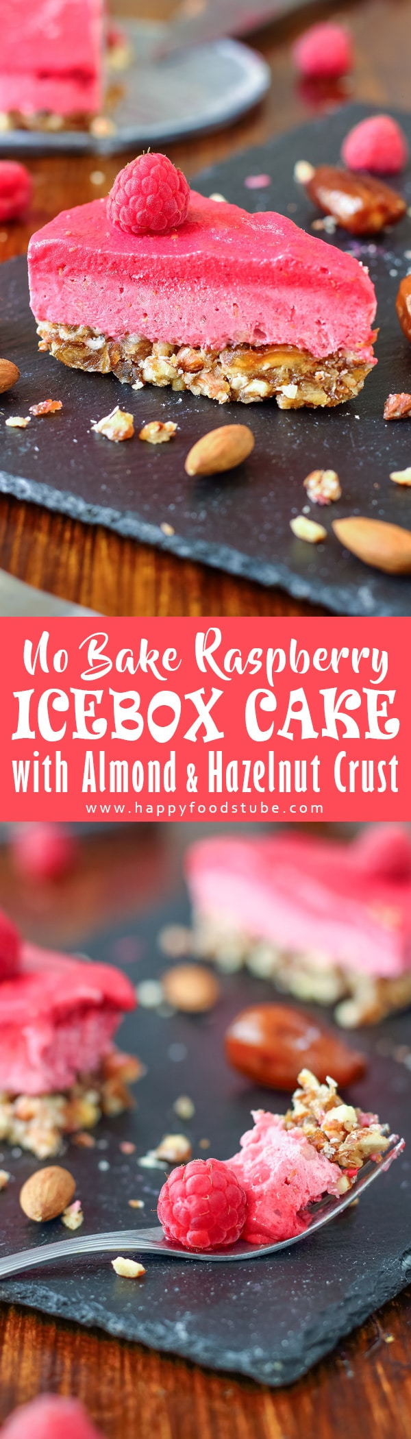 No bake raspberry icebox cake with almond & hazelnut crust. Easy to make dessert recipe, creamy texture with lots of natural sweetness thanks to dates, bananas and raspberries