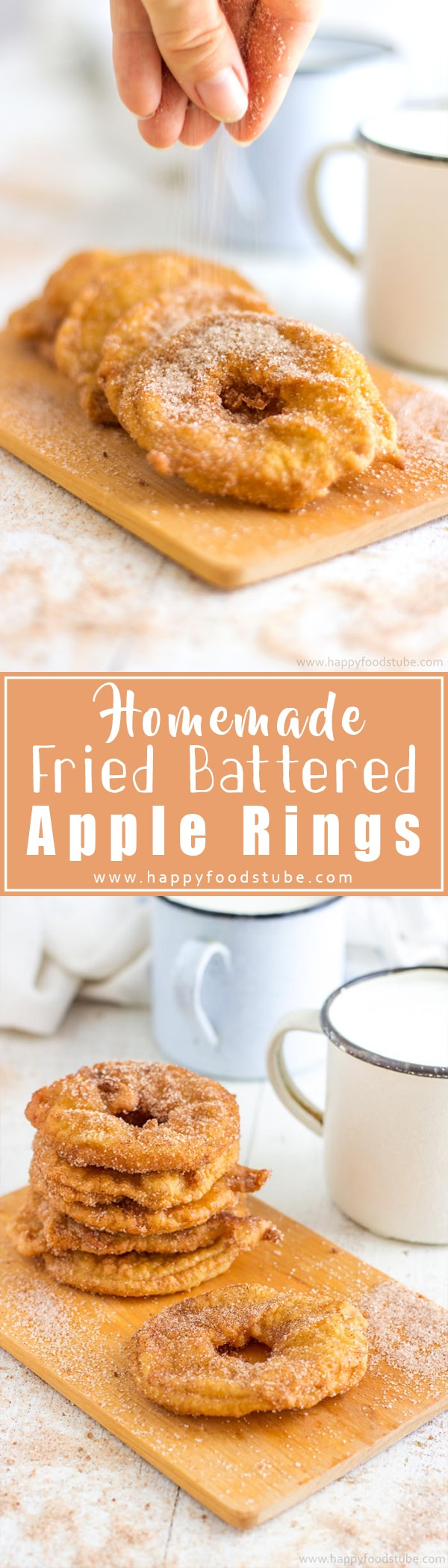 Homemade Fried Battered Apple Rings are simple yet mouth-watering treat. Apple slices dipped in batter, deep-fried & coated in cinnamon sugar. Family favorite dessert recipe, ready in 15 minutes. #applerings
