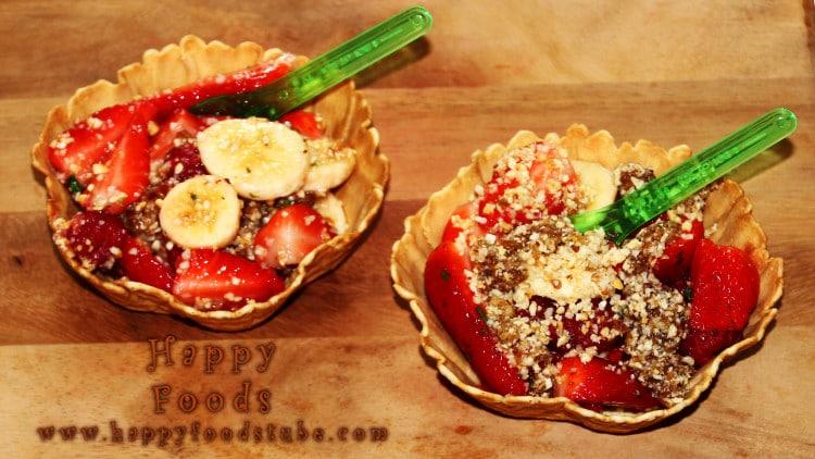 Delicious Crunchy Summer Fruit Salad in Wafer Baskets
