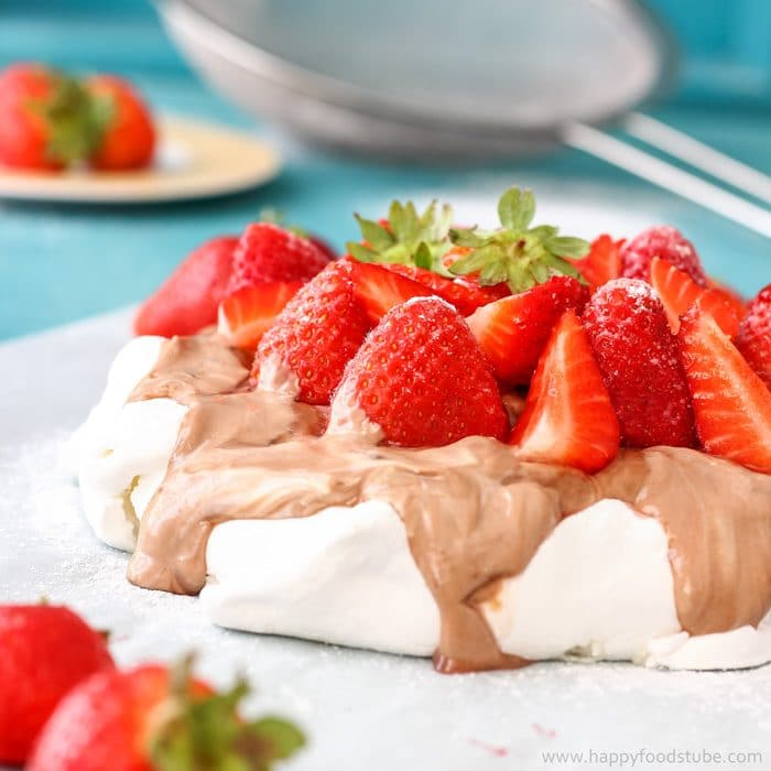 Hazelnut Pavlova Cake with Strawberries