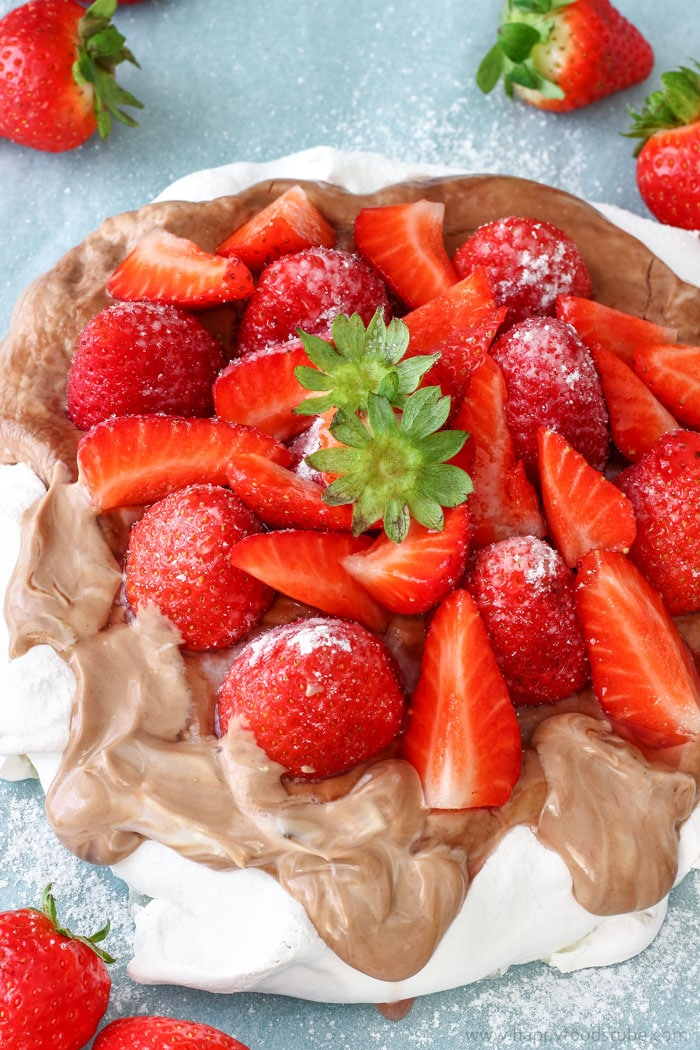 Hazelnut Pavlova Cake with Strawberries Images