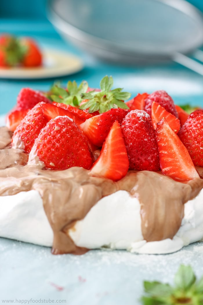 Hazelnut Pavlova Cake with Strawberries Photos