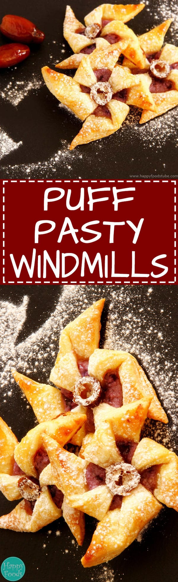 Puff Pastry Windmills - Easy bite-size dessert recipe. Great for any party!   happyfoodstube.com