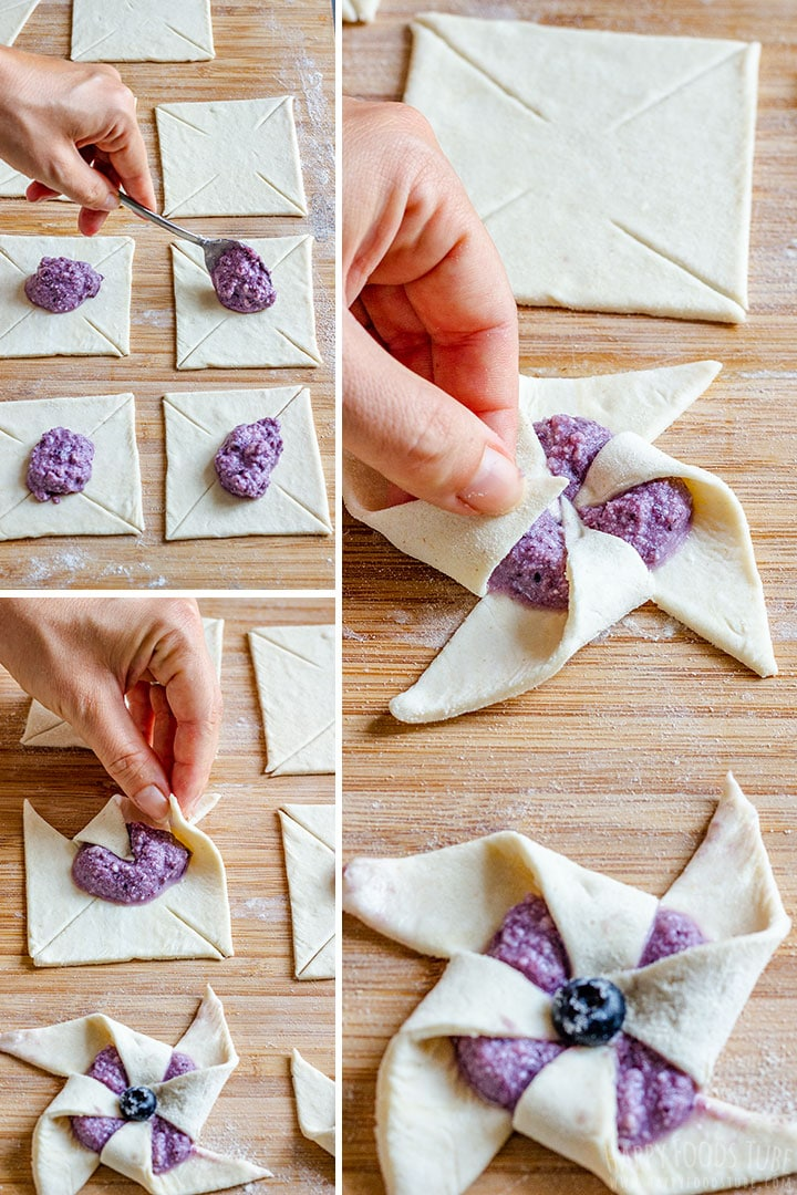 How to make Blueberry Danish Pinwheels Step 1 (How to Fold)