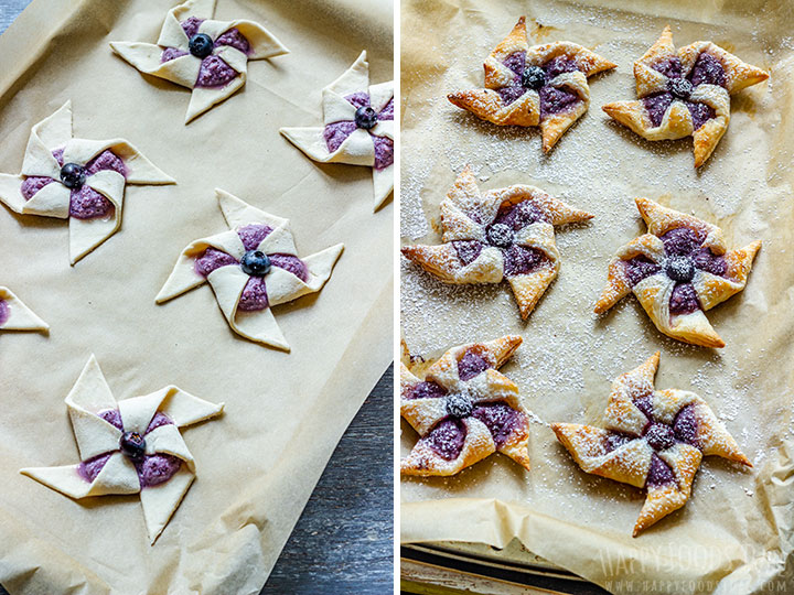 How to make Blueberry Danish Pinwheels Step 3 (Before and After Baking)