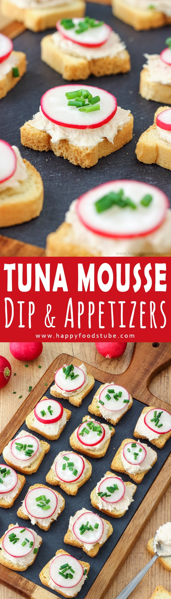 Easy to make Tuna Mousse Dip and Appetizers. Looking for easy party food ideas. This bite size tuna appetizers are quick and easy to make. Only 5 ingredients and ready in 15 minutes. How to make tuna mousse. #tuna #appetizers #dip #partyfood #fingerfood #tunadip #bitesize #canapes