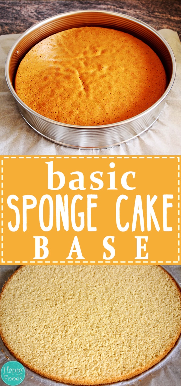 Basic Plain Sponge Cake Base - Easy recipe that you can serve plain or dress up as you like! | happyfoodstube.com