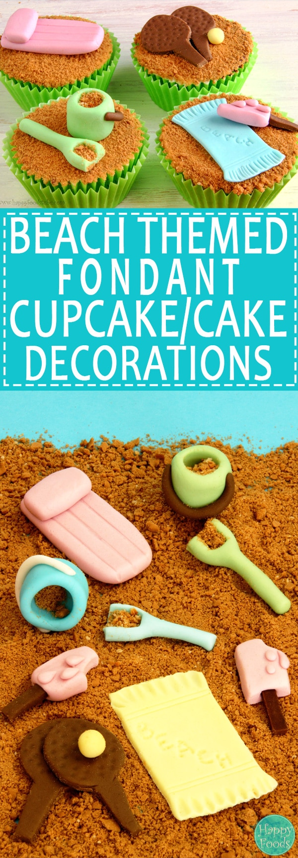 Beach Themed Fondant Cupcake/Cake Decorations - Easy cake decorating tutorial. | happyfoodstube.com