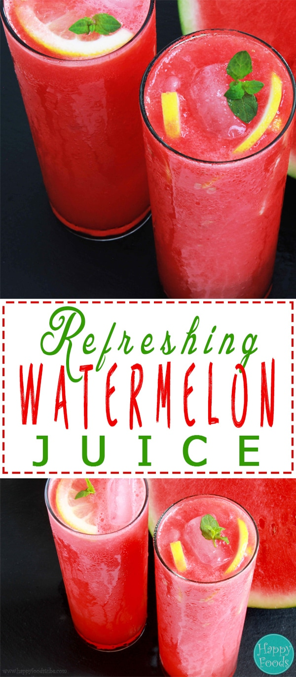 Watermelon Juice - Refreshing summer drink recipe. One of the best non-alcoholic drinks to keep you hydrated! | happyfoodstube.com