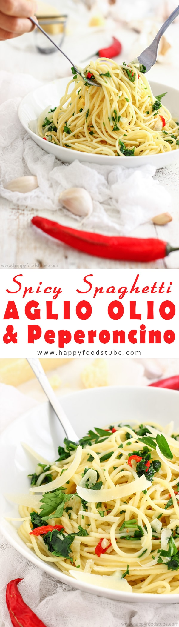 Spicy spaghetti aglio olio & peperoncino recipe. Simple & quick spaghetti dish with garlic, olive oil, chili & finished off with parmesan. A perfect weeknight dinner. Ready in 25 minutes