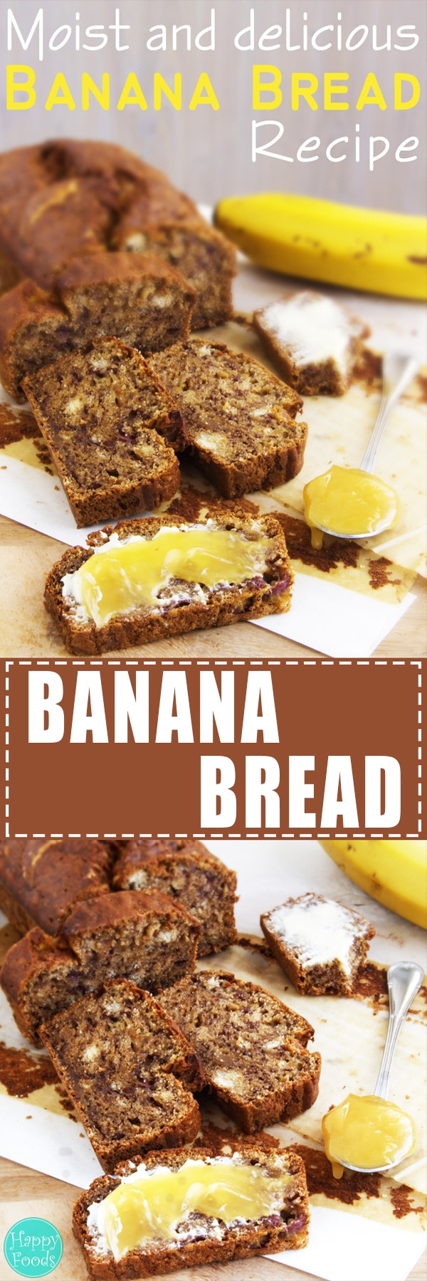 Easy Banana Bread - Moist and delicious homemade banana bread recipe. | happyfoodstube.com