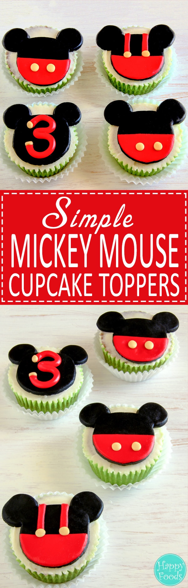Fun and easy Mickey Mouse fondant cupcake toppers will make any Mickey Mouse fan happy. They are edible, cute and made with no special tools or cutters. Cake decorating tutorial