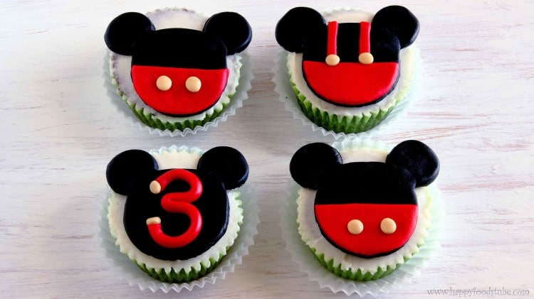 Mickey Mouse Cupcake & Cake Toppers - Super easy fondant cupcake decorating tutorial. Learn how to make simple Disney cake toppers | happyfoodstube.com