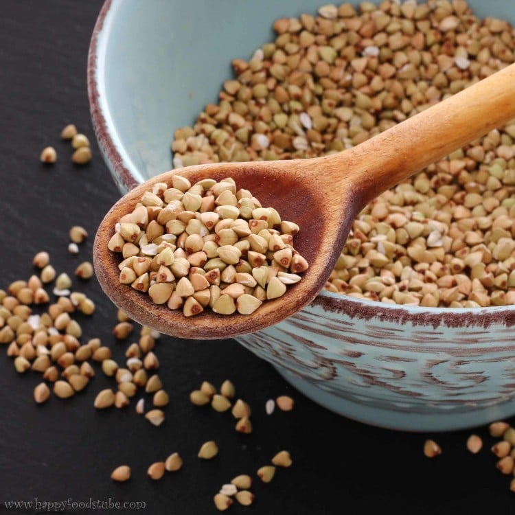 Buckwheat - One of the healthiest foods. It is consumed in many countries around the word. The seeds can be either raw (light greenish color) or roasted (brown color) | happyfoodstube.com