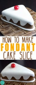 Fondant Cake Slice - In this tutorial you can learn how to make a fondant covered cake slice. Cake decorating video. Sugarcraft. | happyfoodstube.com