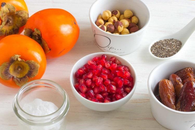 No-Bake-Persimmon-Pomegranate-Dessert-Ingredients