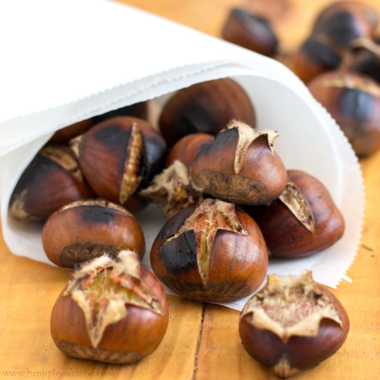 Roasted Chestnuts with Blue Cheese Dip