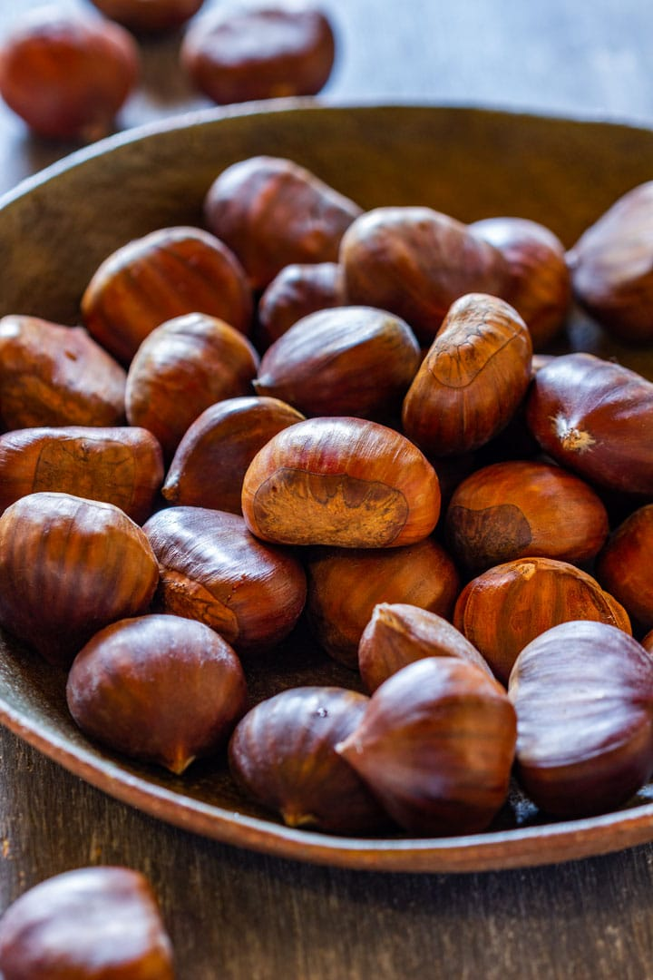 Uncooked fresh chestnuts