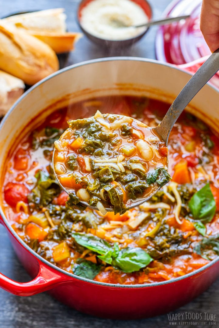 Comforting freshly made minestrone soup
