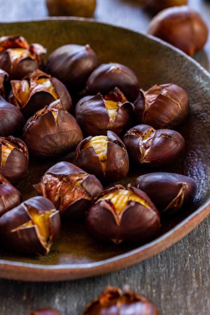 Roasted chestnuts on the rustic plate