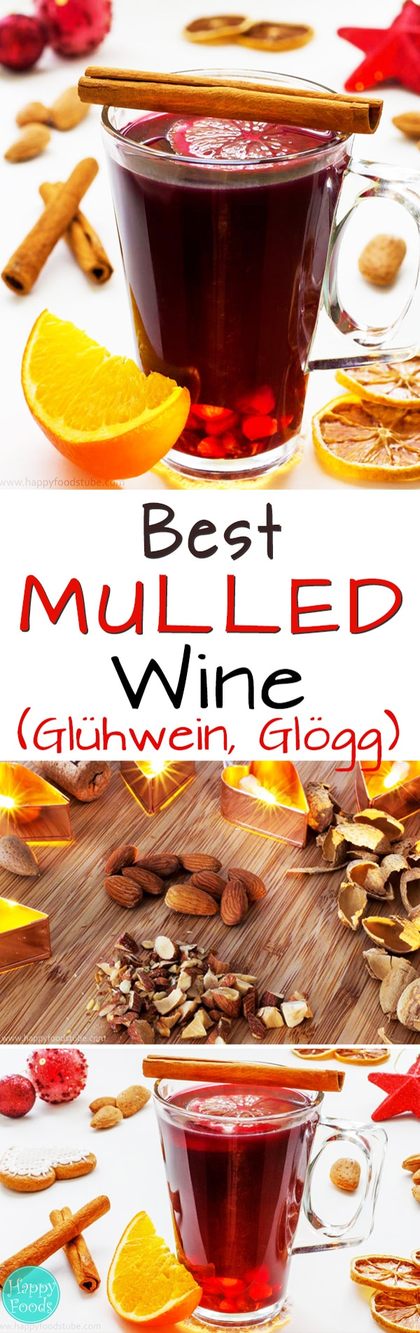 Mulled Wine (Glühwein, Glögg) is a typical winter drink. It's made of red wine to which mulling spices, sugar, citrus & raisins. Best Christmas drink recipe. #mulledwine #howtomake #winterdrinks #drinks #holidaydrinks #christmasdrinks #holidaypunch #glögg #glögi #glühwein #vinchaud #vinfiert