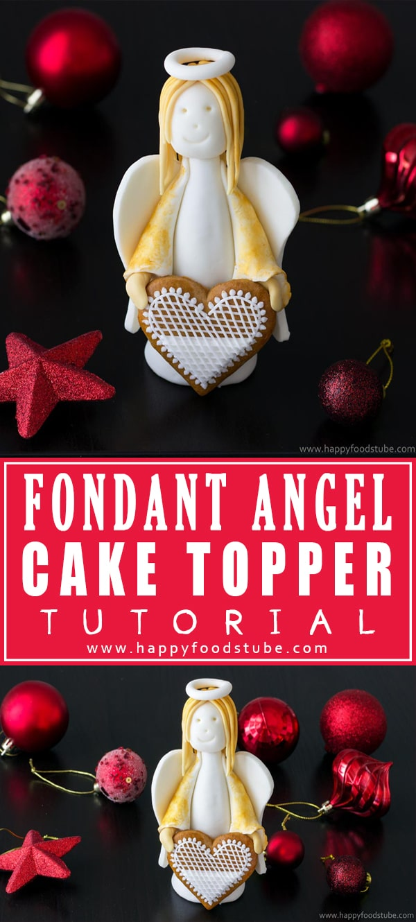 Decorate your cake with this Fondant angel cake topper. Watch this video for step by step instructions. All you need is fondant & simple tools