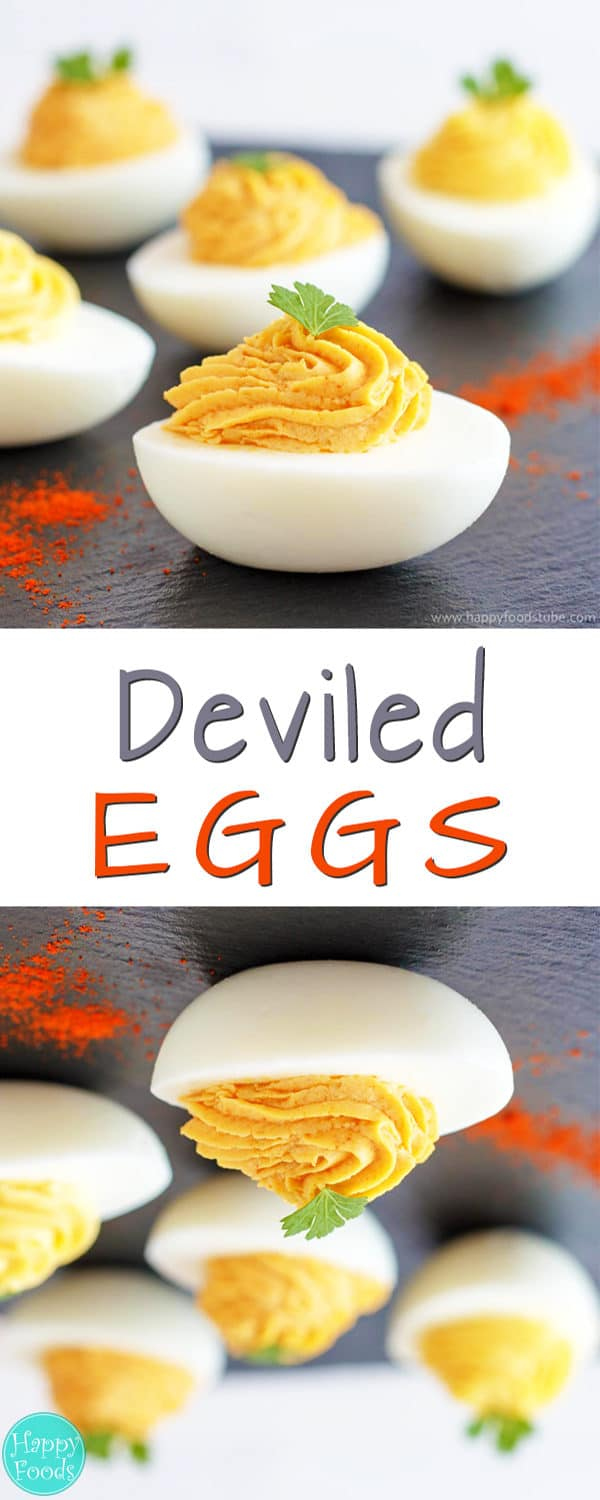Deviled Eggs - 3 different options for their filling, mustard filling, anchovy filling, olive and chili filling. Super simple party food recipe   happyfoodstube.com