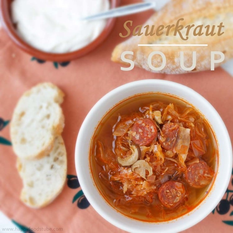 Sauerkraut Soup - a 45-minute healthy, easy recipe. Popular soup recipe in many European countries. | happyfoodstube.com