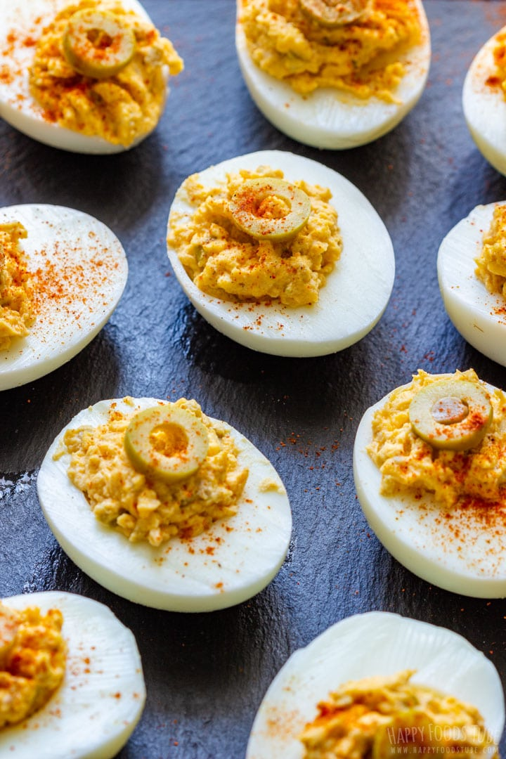 Deviled Eggs Topped with Olives