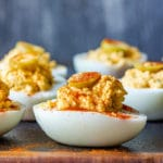 Deviled Eggs with Olives Pin