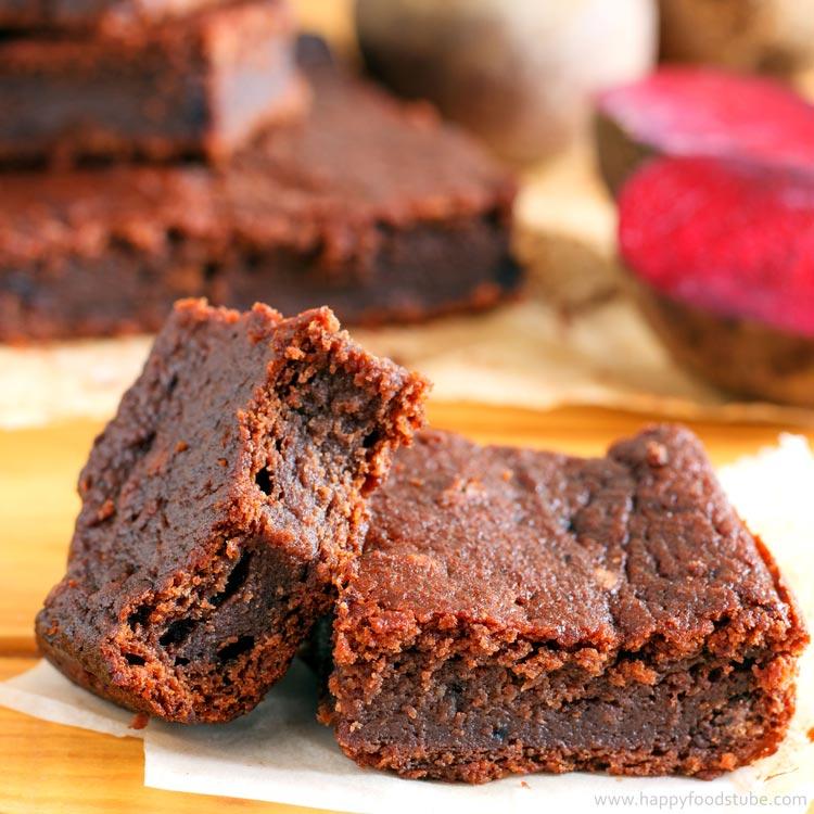 dark chocolate beetroot brownies recipe video happy