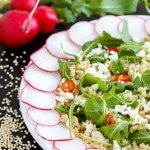 Cold Quinoa Salad with Feta Cheese & Rucola Leaves
