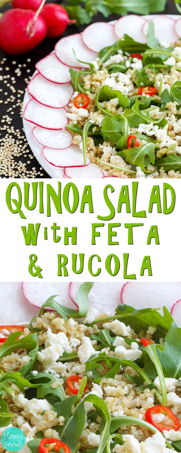 Super good and healthy cold Quinoa Salad recipe. Only 5 ingredients - quinoa, feta cheese, radish, rucola leaves and fresh chili