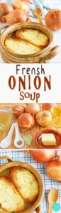 French Onion Soup - Homemade classic simple French Onion Soup recipe. Absolutely delicious when topped with melted cheese baguettes. Quick and easy. | happyfoodstube.com