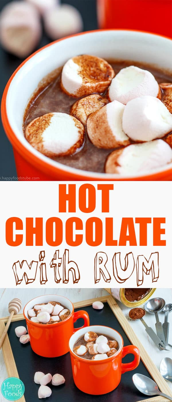 Hot Chocolate Spiked with Rum - Homemade lovely hot brew recipe with little alcohol and topped with marshmallows. Sweet dream. | happyfoodstube.com