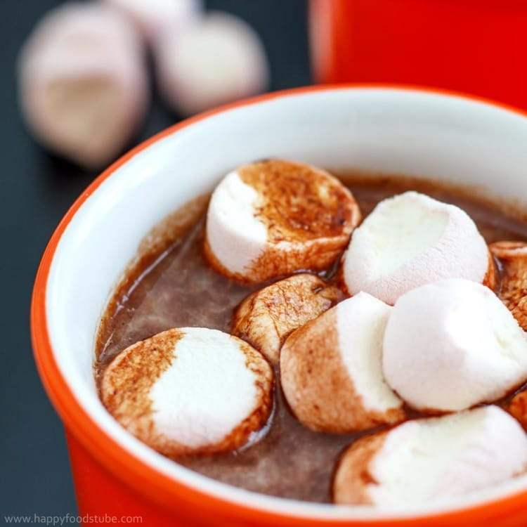 Hot Chocolate Spiked with Rum - Homemade lovely hot brew recipe with little alcohol and topped with marshmallows. Sweet dream | happyfoodstube.com