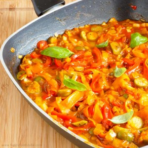 Pasta Sauce with Caper Berries Cooking