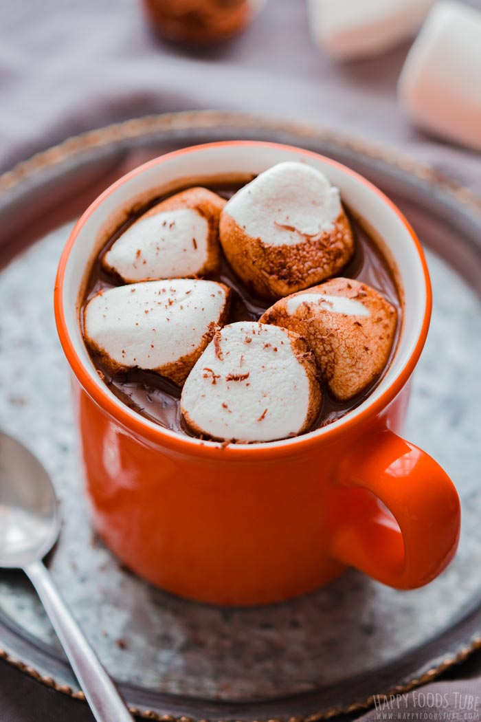 Hot Chocolate Spiked with Rum and Marshmallows
