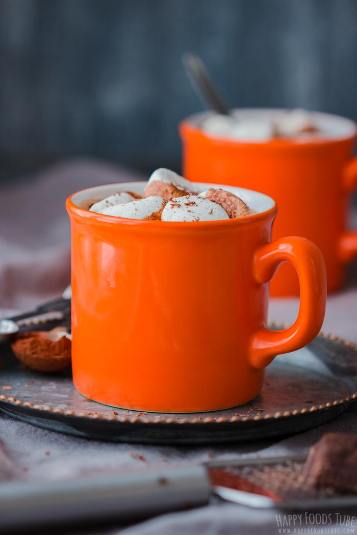 Hot Chocolate Spiked with Rum in the Mug