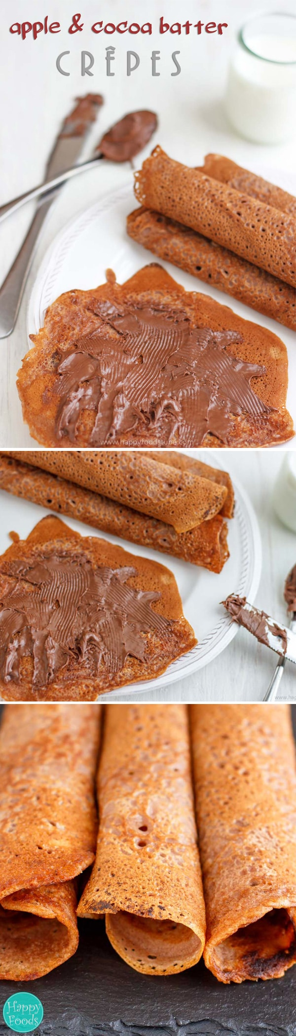 Apple & Cocoa Batter Crepes - Super delicious crepes / pancake recipe, healthy ingredients, pancake tuesday, pancake day, vegetarian | happyfoodstube.com